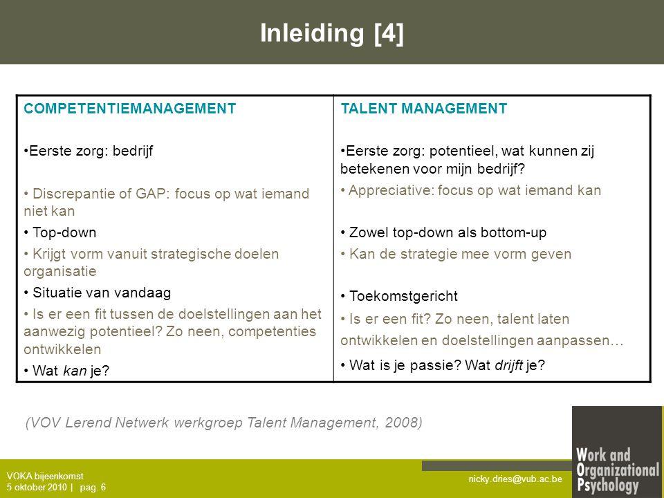 Inleiding [4] COMPETENTIEMANAGEMENT Eerste zorg: bedrijf